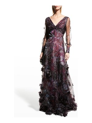 Notte by Marchesa Foiled Printed Organza Gown w/ 3D Flowers
