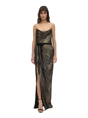 Notte by Marchesa Foiled velvet draped gown