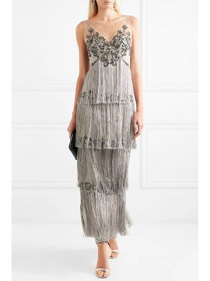 Notte by Marchesa fringed embellished tulle and satin gown