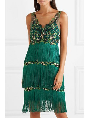 Notte by Marchesa fringed embroidered tulle dress
