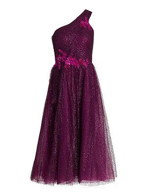 Notte by Marchesa glitter tulle one-shoulder dress