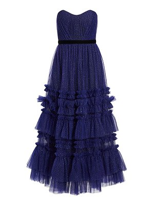 Notte by Marchesa glitter tulle strapless tea-length gown