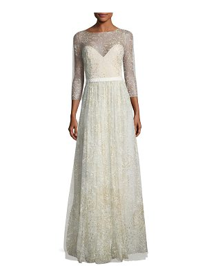 Notte by Marchesa Glitter Tulle Sweetheart Illusion Gown