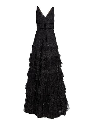 Notte by Marchesa glitter tulle tiered gown