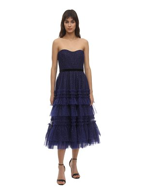 Notte by Marchesa Glittered tulle midi dress