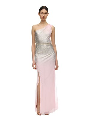 Notte by Marchesa Gradient foiled one shoulder gown