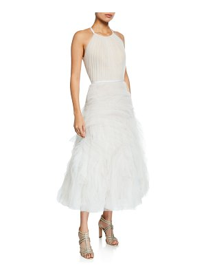 Notte by Marchesa Halter-Neck Textured Tulle Draped Bodice Tea-Length Gown