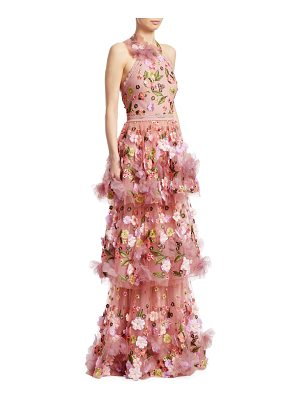 Notte by Marchesa halter tiered floral gown