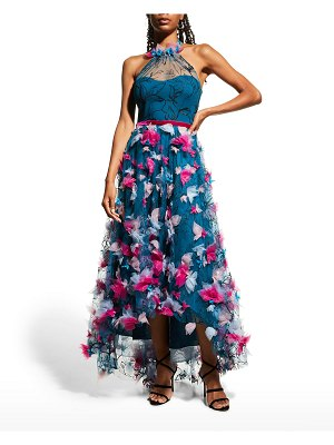 Notte by Marchesa High-Low Printed Tulle Halter Gown