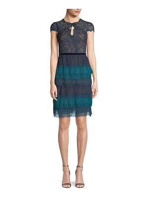 Notte by Marchesa Lace Cap-Sleeve & Tulle Ruffle Dress