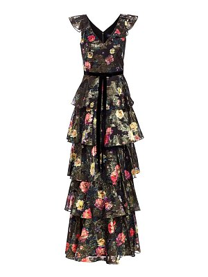 Notte by Marchesa metallic floral printed tiered a-line gown