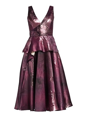 Notte by Marchesa metallic jacquard peplum tea gown