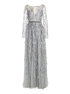 Notte by Marchesa metallic leaf sheer sleeve gown