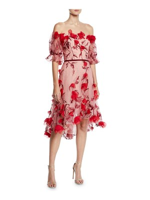 Notte by Marchesa Off-the-Shoulder 3D Floral Embroidered Cocktail Dress