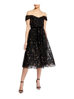 Notte by Marchesa Off-the-Shoulder Flocked Glitter Tulle Midi Dress