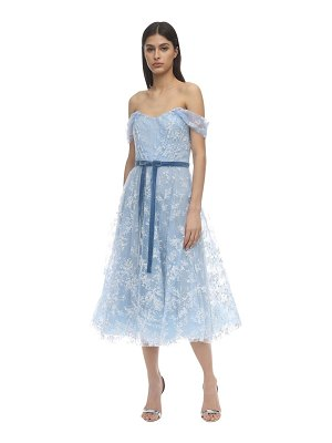Notte by Marchesa Off-the-shoulder flocked tulle dress