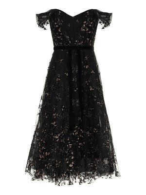 Notte by Marchesa off-the-shoulder lace midi dress
