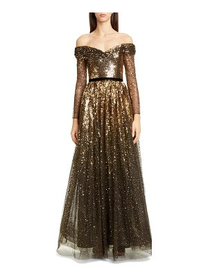 Notte by Marchesa off the shoulder long sleeve ombre sequin gown