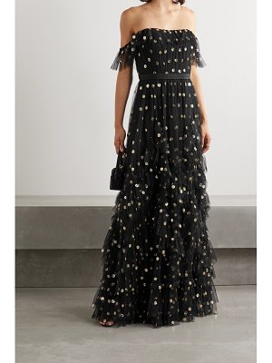 Notte by Marchesa off-the-shoulder ruffled polka-dot sequined tulle gown