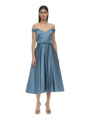 Notte by Marchesa Off-the-shoulder satin midi dress