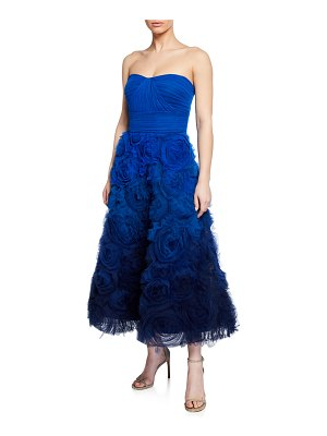 Notte by Marchesa Ombre Strapless Textured Tulle Gown with Draped Bodice