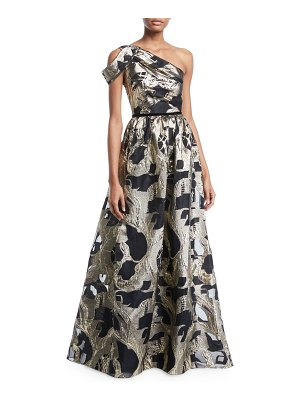 Notte by Marchesa One-Shoulder Colorblock Fil-Coupe Gown