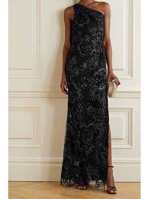 Notte by Marchesa one-shoulder flocked glittered tulle gown