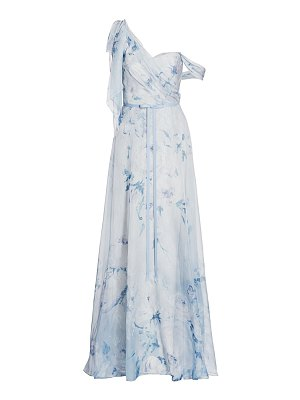 Notte by Marchesa one-shoulder floral chiffon pleated gown
