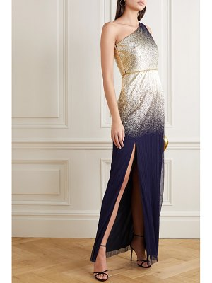 Notte by Marchesa one-shoulder metallic printed plissé-tulle gown