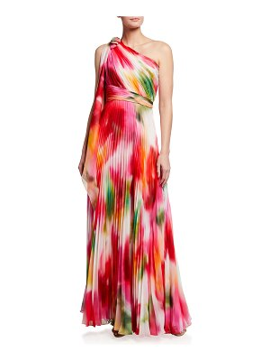 Notte by Marchesa One-Shoulder Pleated Chiffon Gown w/ Draped Bow
