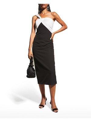 Notte by Marchesa One-Shoulder Two-Tone Crepe Dress