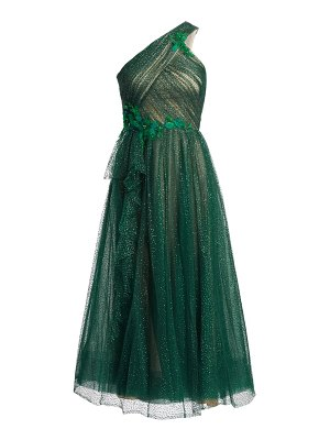 Notte by Marchesa one-shouldered lurex tulle cocktail dress