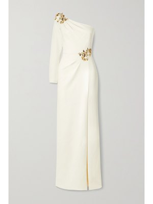 Notte by Marchesa one-sleeve embellished crepe gown