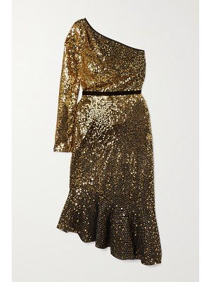 Notte by Marchesa one-sleeve velvet-trimmed sequined cady dress