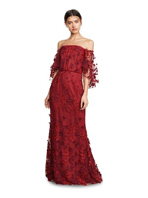 Notte by Marchesa ots flutter sleeve embroidered gown