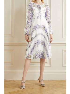 Notte by Marchesa pleated floral-print chiffon dress