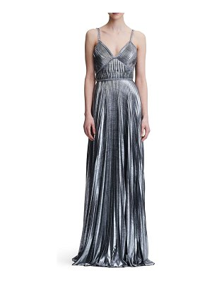 Notte by Marchesa pleated lame a-line gown
