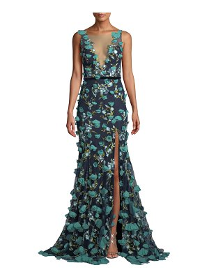 Notte by Marchesa Plunging-Illusion 3D Flower Trumpet Gown