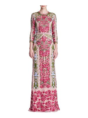 Notte by Marchesa quarter-sleeve lace gown