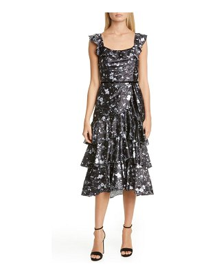 Notte by Marchesa ruffle charmeuse cocktail dress