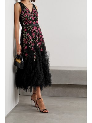 Notte by Marchesa ruffled embellished embroidered tulle midi dress