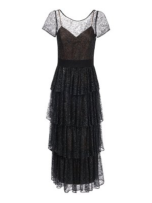 Notte by Marchesa Ruffled long tulle dress