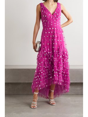 Notte by Marchesa ruffled polka-dot sequined tulle gown