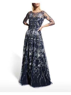 Notte by Marchesa Sequin Embroidered Tulle A-Line Gown