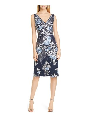 Notte by Marchesa sequin floral embroidered tulle cocktail dress