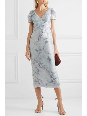 Notte by Marchesa sequined floral-print crepe midi dress