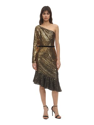 Notte by Marchesa Sequined one shoulder midi dress