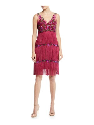 Notte by Marchesa Sleeveless Embroidered Fringe Dress