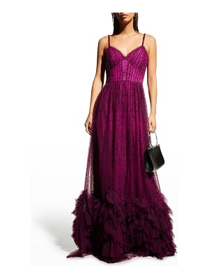 Notte by Marchesa Sleeveless Flocked Polka-Dot Tulle Gown