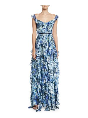 Notte by Marchesa Sleeveless Floral-Print Burnout Cascading Ruffle Gown